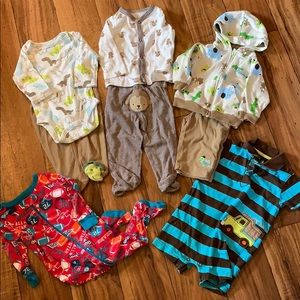 Baby Boy Matching Outfit Lot Of 8 Footed Pajamas